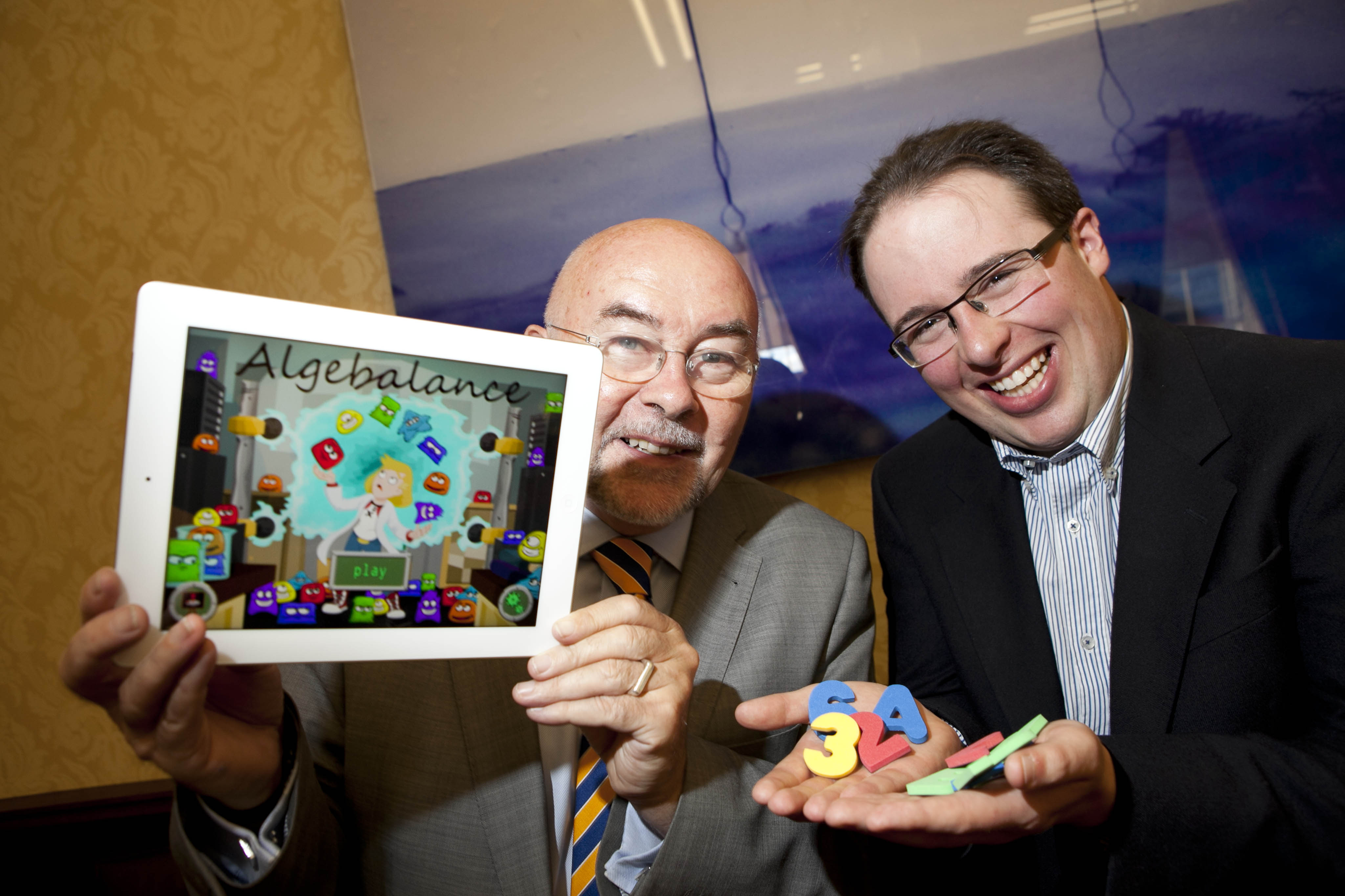 Minister for Education and Skills, Ruairi Quinn with David Collins, founder and CEO of Irish technology startup Rongella